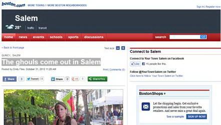 Trang boston.com của báo The Boston Globe ngày 31-10-2012.