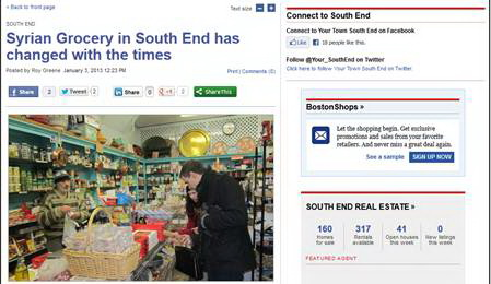 Bài viết đăng trên trang South End của website báo The Boston Globe hôm 3-1-2013.