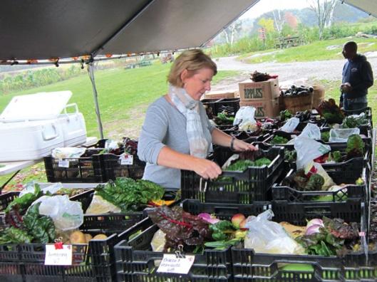 Một thành viên CSA đang nhận phần thực phẩm hàng tuần ở phía sau quầy tiêu thụ nông sản của Springdell. Ảnh: Mai Ngoc Chau